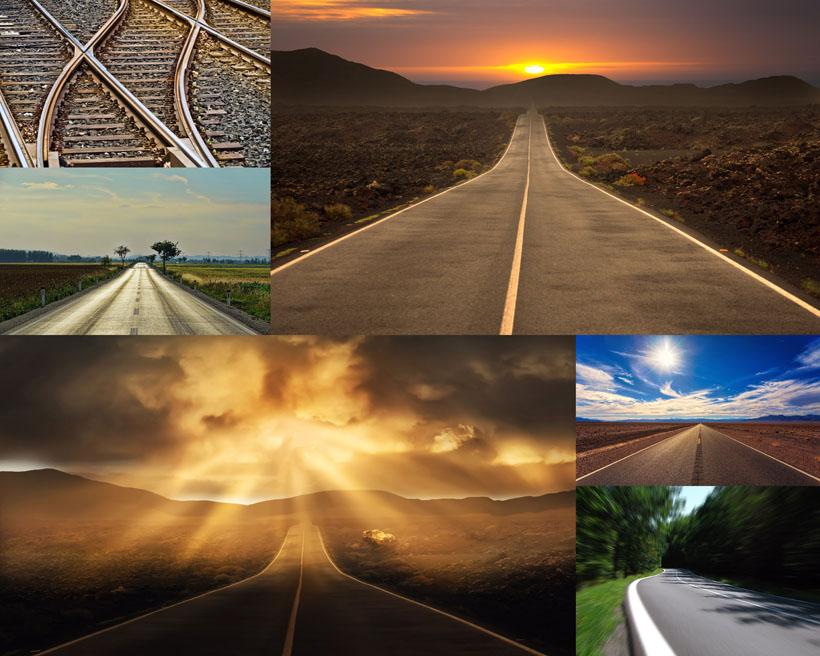 夕阳道路风光拍摄高清图片