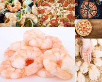 虾子披萨摄影高清图片