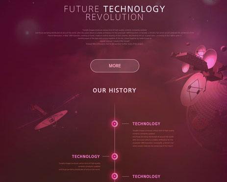 红色未来科技网页模板PSD素材