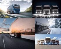 大型運輸汽車與公路攝影高清圖片