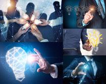 灯泡与商务男人摄影高清图片
