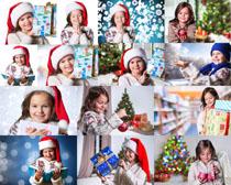圣诞节礼物女孩摄影高清图片