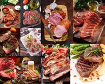 牛肉塊香腸食物攝影高清圖片
