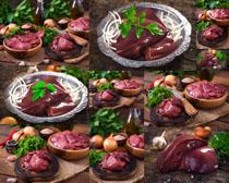 豬肝食材展示攝影高清圖片