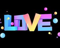 彩色LOVE字体PSD素材