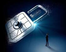 商务安全数据锁PSD素材