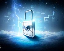 科技金融锁PSD素材