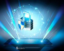 平板与安全锁金融PSD素材