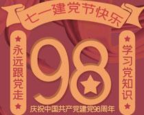 七一建党节快乐海报PSD素材