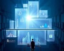 商务男人与科技数据PSD素材