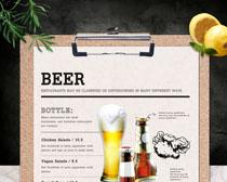啤酒菜单展示PSD素材