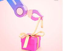 粉色禮物盒包裝PSD素材
