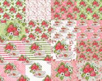 草莓圖案花紋背景攝影高清圖片