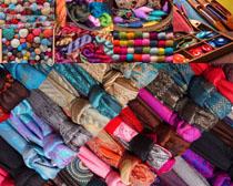 傳統圍巾展示攝影高清圖片