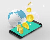 手機硬幣金融PSD素材