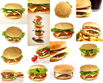 汉堡包食物展示摄影高清图片