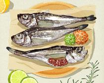 海鮮魚類與檸檬PSD素材