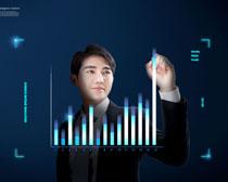 商务男人科技数据分析PSD素材