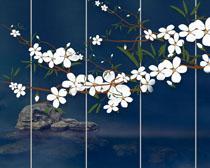 花朵小溪风景画PSD素材