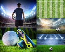 足球場與運動員攝影高清圖片