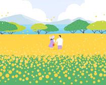 花丛人物插画PSD素材