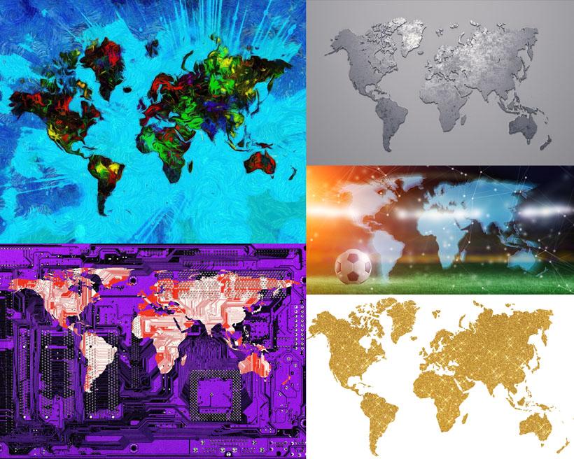 地图图形色彩摄影高清图片
