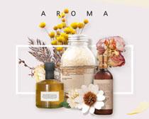 花朵瓶子装饰网页设计PSD素材