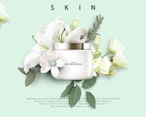 花朵化妆品网页设计PSD素材