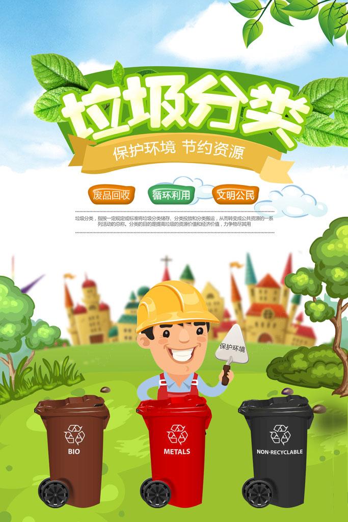 垃圾分类保护环境海报psd素材