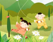 放飞风筝卡通儿童PSD素材
