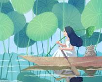 划船的女孩插画PSD素材