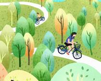 森林骑车的人们插画PSD素材