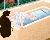 浴缸里的女孩PSD素材