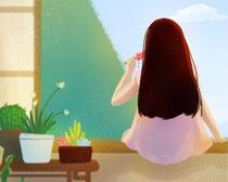 绘画窗台女孩PSD素材