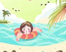 卡通游泳女孩PSD素材