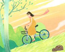 夏天骑单车女孩PSD素材
