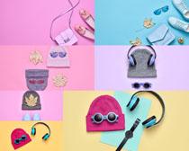 耳机帽子生活用品摄影高清图片