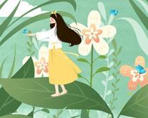 花朵叶子春天女孩PSD素材