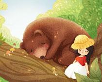 小熊与女孩插画PSD素材