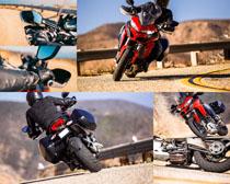 公路上的动感摩托车摄影高清图片