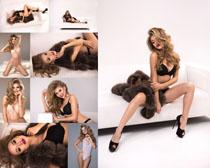 皮草性感內衣模特美女拍攝高清圖片