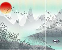 自然风景装饰壁画PSD素材