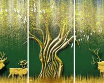 藝術畫鹿與樹PSD素材