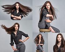 牛仔裤时尚写真美女拍摄高清图片