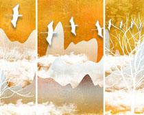 云朵小鳥裝飾畫PSD素材
