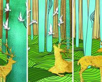 艺术画鹿展示PSD素材