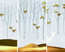 雪景樹木小鳥裝飾畫PSD素材