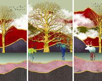 树木绘画展示装饰画PSD素材