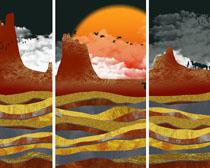 艺术山峰绘画装饰PSD素材