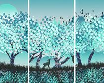 树木小鹿景观画PSD素材